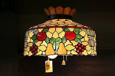 Vintage Fruit Themed Stained Glass Chain Mounted Pool Hall Ceiling Light Lamp