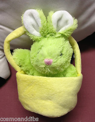 Cute Green Rabbit In A Yellow Soft Bucket