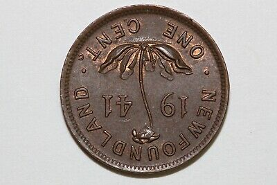 1941 Newfoundland Small One Cent Piece That Grades About Uncirculated (NEWF118)