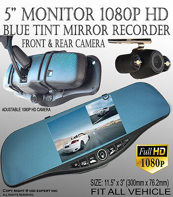 JDM 300mm Blue Tint New 1080P HD Front Back Dash Cam Car Rearview Mirror #SX1
