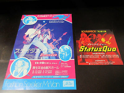 Status Quo 1976 Japan Tour Flyer with Sticker Rossi Handbill for Concert