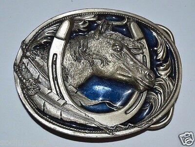 WOW MINTY Vintage 1995 Indian Feather Western Horse Lucky Horseshoe Belt Buckle