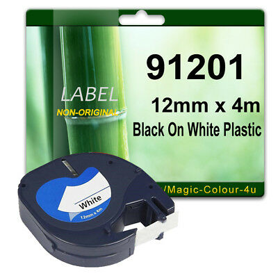 1 Compatible label tape for 91201 Black On White 12mm x 4m