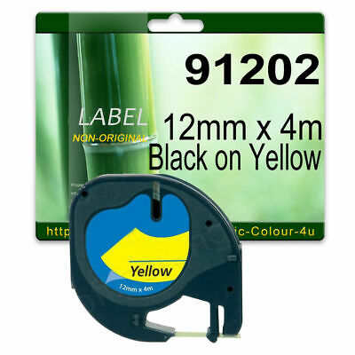 1 Compatible label tape for 91202 Black On Yellow 12mm x 4m