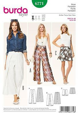 Burda Sewing Pattern Ladies Summer Pants   Size 10 - 20  6771