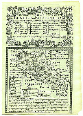 1720 Bowen Map Northamptonshire Double Sided with Road Map