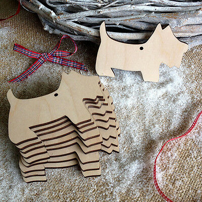 Wooden Christmas SCOTTIE DOG Decorations Birch Tag Blank Craft Art Shapes x 10