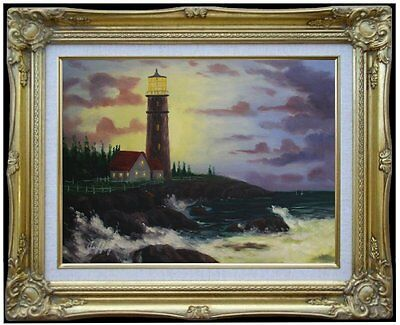 Framed Quality Hand Painted Oil Painting, Conquering the Storm, 12x16in