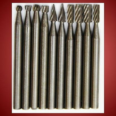 10-pc HS STEEL Rotary Woodcarving Tool Burrs 1/8-inch Fits Dremel