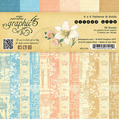 Graphic45 GILDED LILY 6x6 PAPER PAD scrapbooking (36) Patterns & Solids
