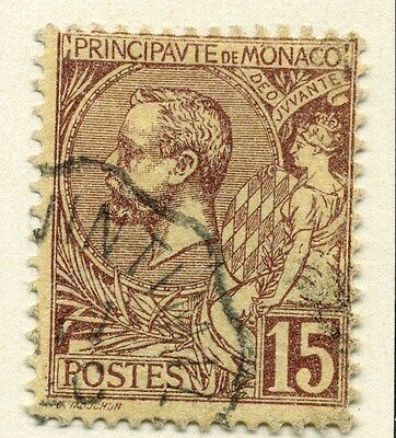 MONACO;  1891 early classic Albert issue fine used  15c. value