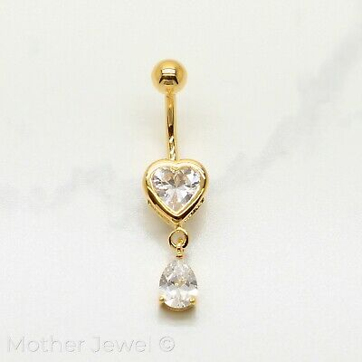 Simulated Diamond Heart 18K Yellow Gold Triple Plated Dangle Belly Navel Ring