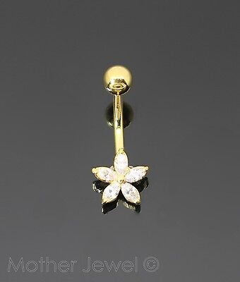 Simulated Diamond Flower 18K Yellow Gold Triple Plated Belly Button Navel Ring