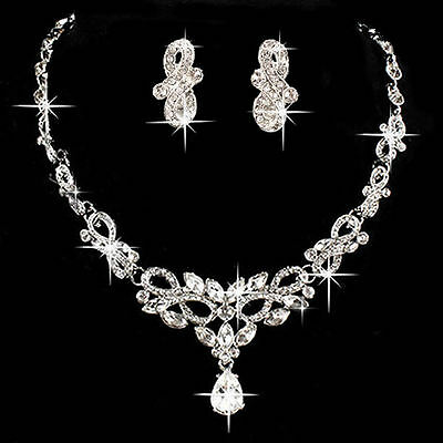 Gorgeous Bridal Wedding Party Crystal Rhinestone Necklace Earring Jewelry Sets