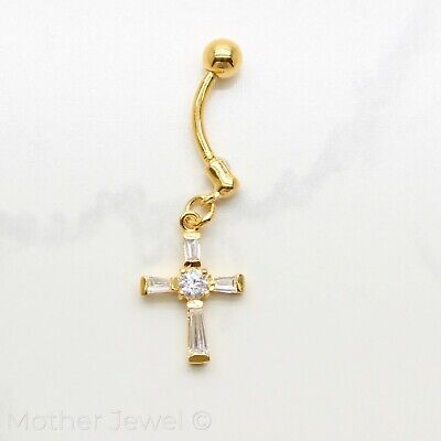 Simulated Diamond Cross 18K Yellow Gold Triple Plated Belly Button Navel Ring