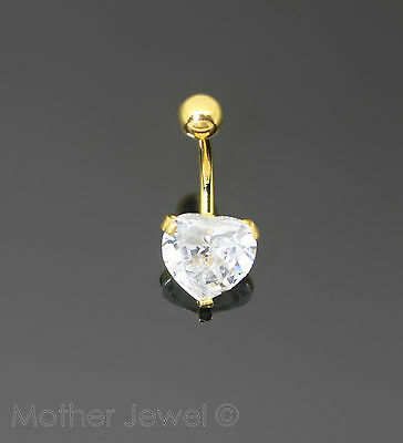 Heart Simulated Diamond 18K Yellow Gold Triple Plated Belly Button Navel Ring