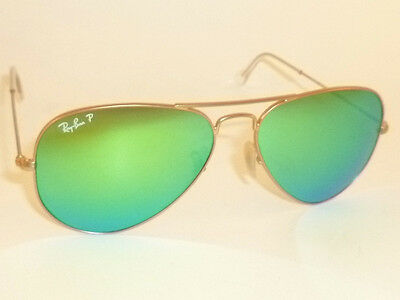 New RAY BAN Aviator Matte Gold Frame RB 3025 112/P9  Polarized Green Mirror 58mm