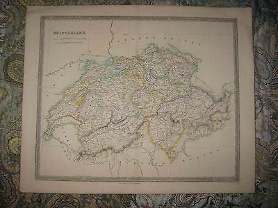 Huge Gorgeous Antique 1844 Switzerland Teesdale Handcolor Map Mountain Climbing