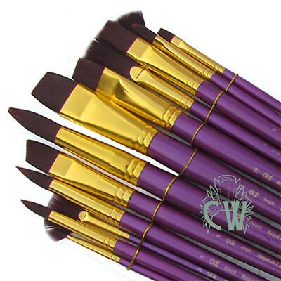 Royal Set of 12 Artists Large Firm Burgundy Brushes. For Acrylic & Oil Paint