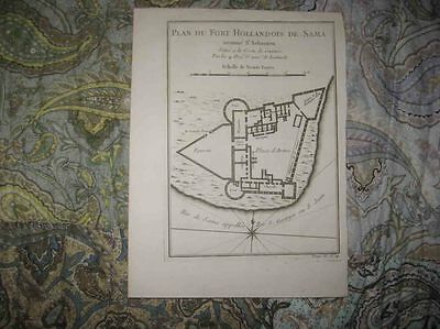 Antique 1746 Ghana West Africa Dutch Colonial Fort Bellin Copperplate Map Superb