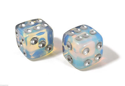 Opalite Gemstone - Dice Pair 15mm d6 FREE Pouch - FREE SHIPPING Worldwide