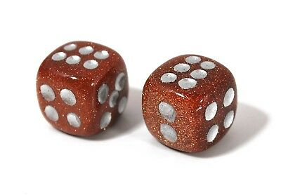 Goldstone Gemstone - Dice Pair 15mm d6 FREE Pouch - FREE SHIPPING Worldwide