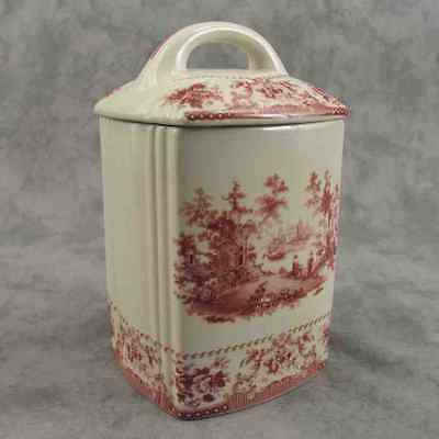 Red & Cream Transferware Victorian Country Toile Canister Biscuit Jar