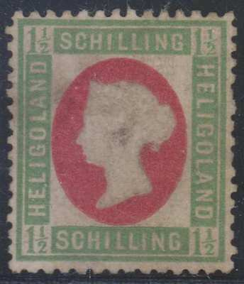 BC HELIGOLAND 1869-71 QV Sc 5a BLUE GREEN & ROSE UNUSED SCARCE SCV$240.00