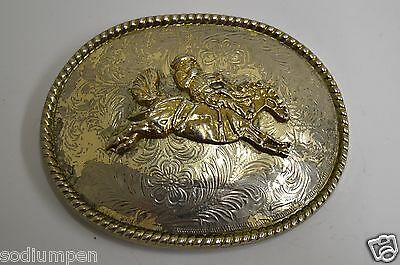 WOW Vintage Western Horse Jumping Equestrian Cowboy Rodeo Belt Buckle RARE