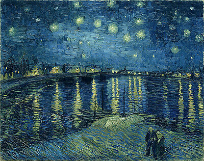Vincent Van Gogh Starry Night over the Rhone Vintage Wall Art Poster Print