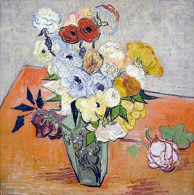 Vincent Van Gogh Still Life Japanese Vase with Roses and Anemones Vintage Print