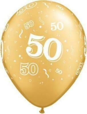"10 x Age 50-A-Round 50th Birthday/Anniversary Gold 11"" Qualatex Latex Balloons"