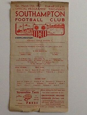 1950/51 D2 Southampton V Grimsby Town 17/03/51