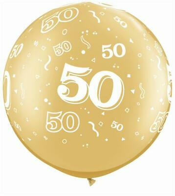 "Age 50-A-Round 50th Birthday/Anniversary Gold 30"" Qualatex Latex Balloon"