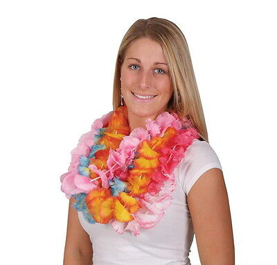 Lot Of 12 Hawaiian Carnation Flower Two Tone Leis Luau Beach Party Carnivals