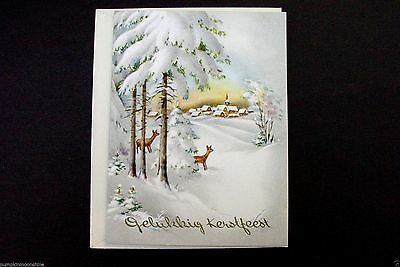 # I 313- Vintage Unused Xmas Greeting Card Pretty Winter Forest Deer & Village