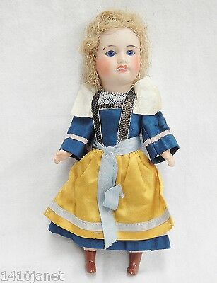 Vintage Bisque Socket Head Doll w Composition Body Jointed Made in France 1940s