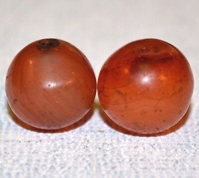 Two Old Round Carnelian Agate Stone Beads - African Trade Beads, Africa