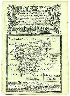 1720 Bowen Antique Map of Merionethshire