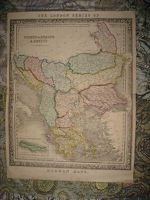 Large Antique 1860 Rare London Series Of Modern Maps Turkey In Europe Greece Map