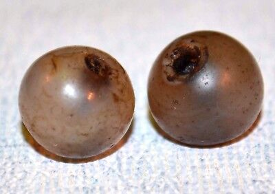 Two Semi Round Excavated Agate Stone Beads Collected In Mali, Africa