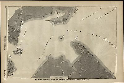 Charleston SC Harbor Map Fort Sumter Batteries 1861 great old print for display
