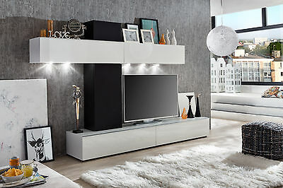 wohnzimmerwei lackiert wohnwand media tv fernsehschrank anbauwand schrankwand eur 980 10. Black Bedroom Furniture Sets. Home Design Ideas
