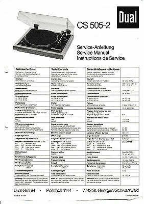 Service Manual instructions for Dual CS 505-2