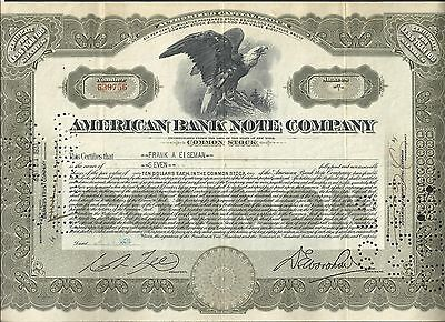 American Bank Note Company USA 1931, Aktie, Common Stock, entwertet