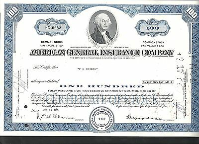 American General Insurance Company USA 1974, Aktie, Common Stock, entwertet