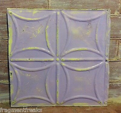 """1890's 12"""" x 12"""" Antique Tin Ceiling Tile RS9 Lavender Reclaimed Anniversary"""