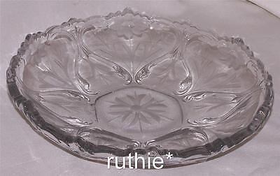 Vintage Pressed Clear and Etched Large Heavy Serving Bowl with Flaws