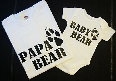 PAPA BABY BEAR Matching Daddy Dad Son Daughter T-Shirt Tee Babygrow Baby Grow