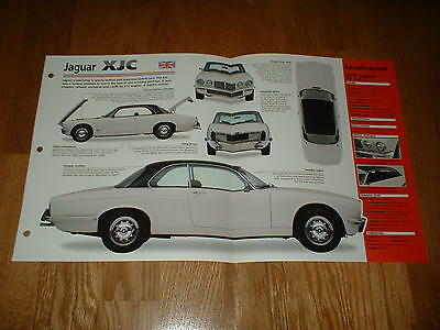★★1976 Jaguar Xjc Spec Sheet Brochure Poster Print Photo 75 76 77 1975 1977★★